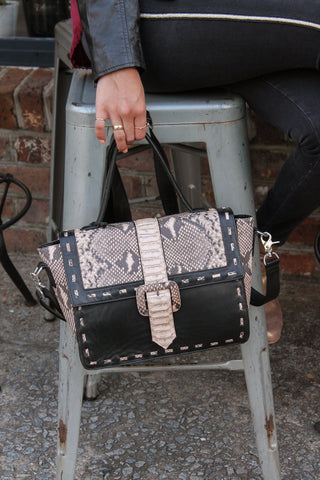 Black Leather Python Bag