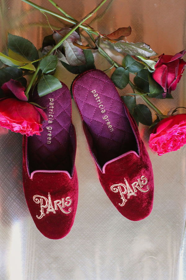 paris slippers, velvet slippers, burgundy velvet slippers, patricia green slippers, valentines day gift
