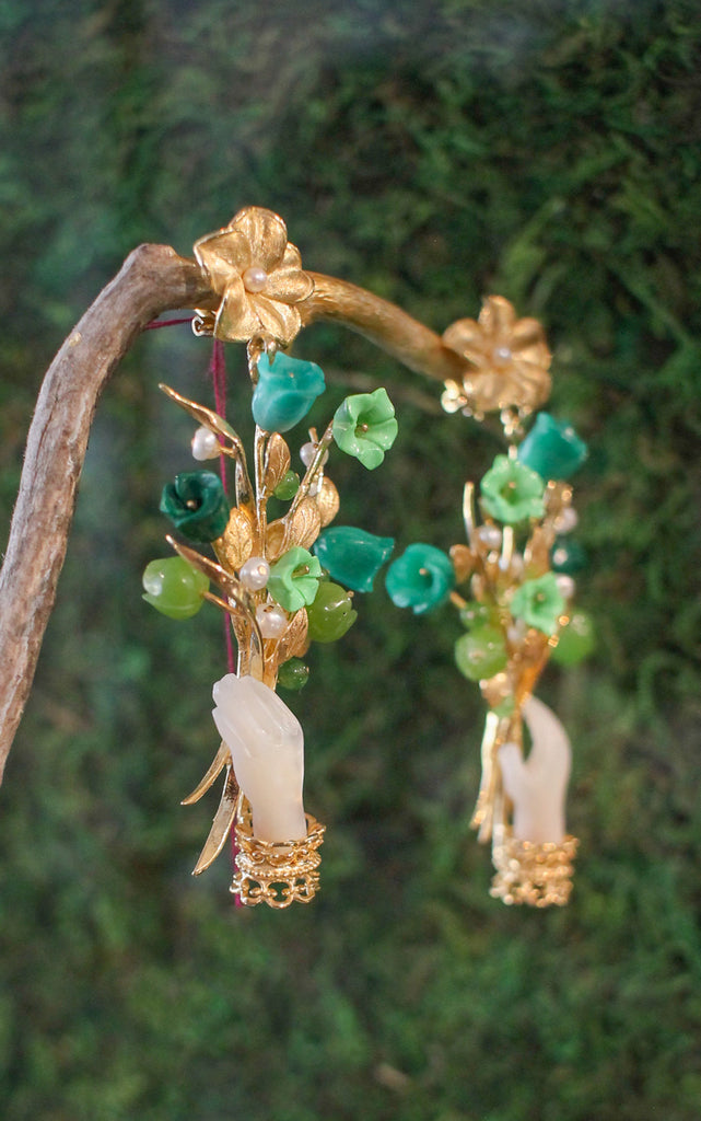 Blossom Earrings in Green/Pearl