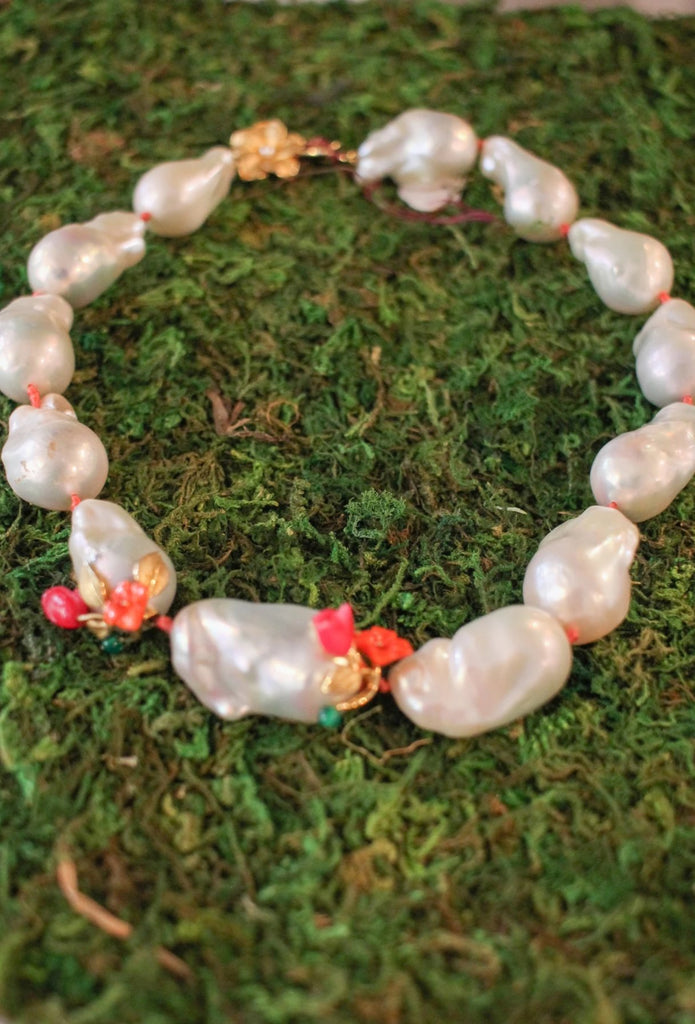 Power Pearl Necklace in Coral