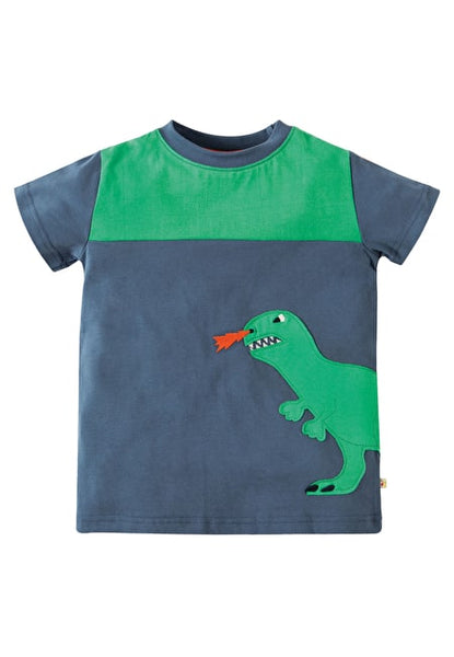 Crantock Colour Block Top Navy Dino T-Shirt Frugi Dino