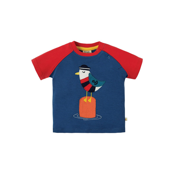 Kurzarm T-Shirt mit Seemöwe Applikation von Frugi