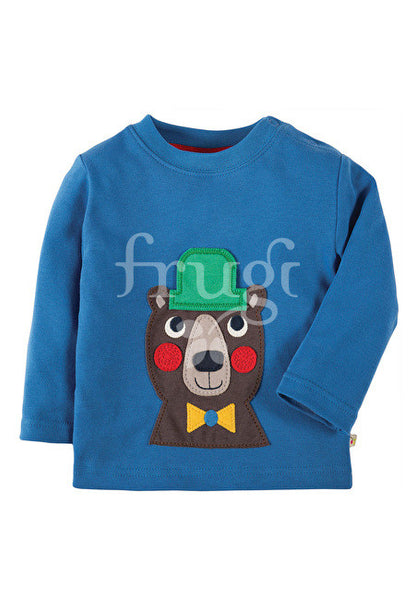 Applique Top Blue Bear Bär Shirt Frugi Hut