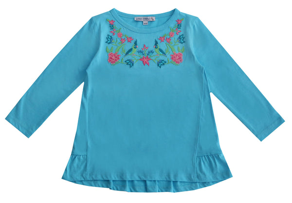 shirt blau mit blumen applikation