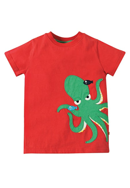 T-shirt Applique James Octopus Tomato Frugi rot