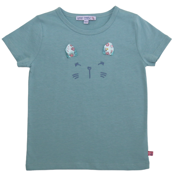 T-Shirt Katze in jade  von Enfant Terrible