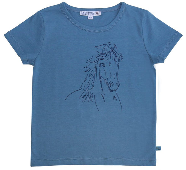 T-Shirt Pferd in blau von Enfant Terrible