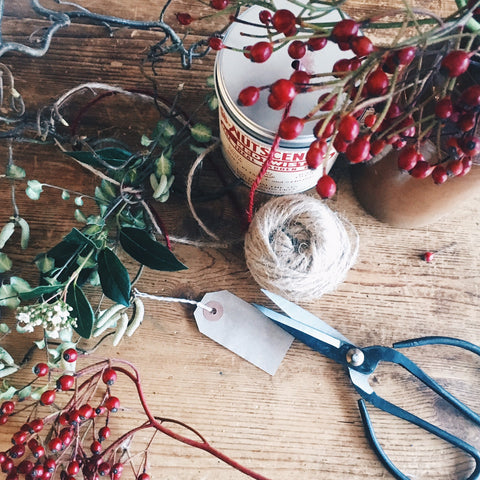 Gift wrapping Christmas with garden twine and vintage scissors - Denys & Fielding