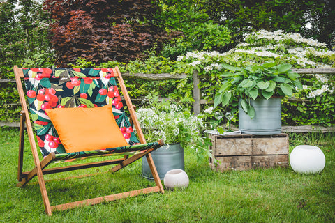 Wideboy deckchair - seen here in Cherry fabric design and with contrasting orange classic cushion