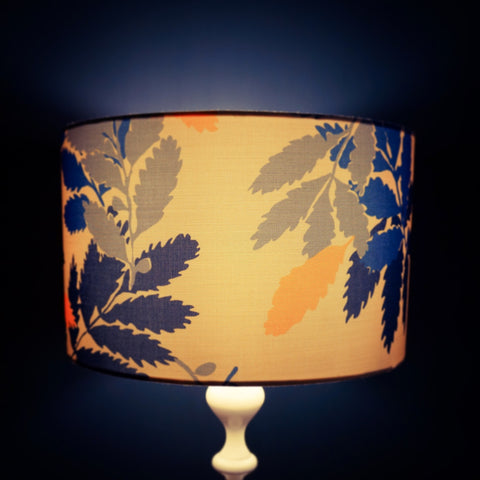 Hand made lampshade in orange and blue leaf design by Denys and Fielding