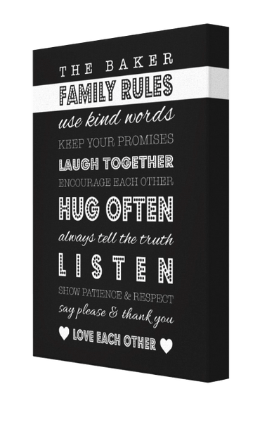Family Rules Canvas - Pics On Canvas