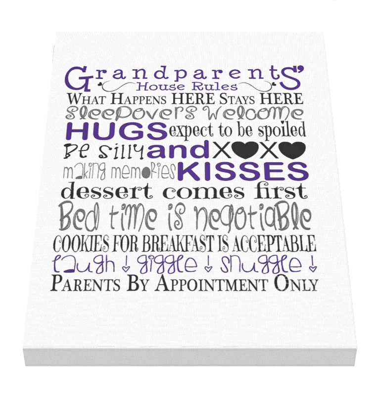 Grandparents House Rules Canvas 1 - Pics On Canvas