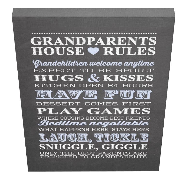 Grandparents House Rules Canvas 2 - Pics On Canvas