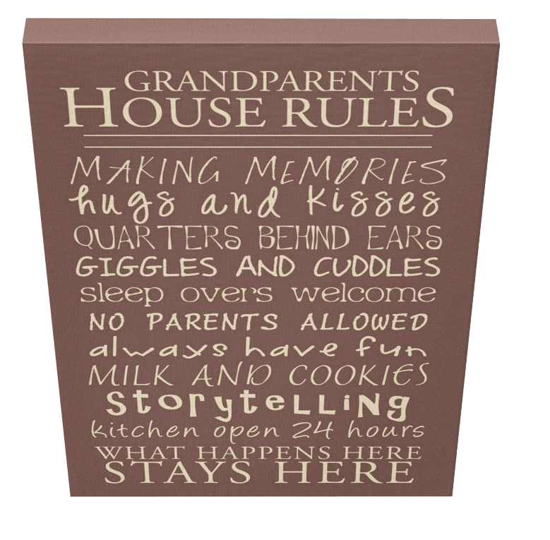 Grandparents House Rules Canvas 3 - Pics On Canvas