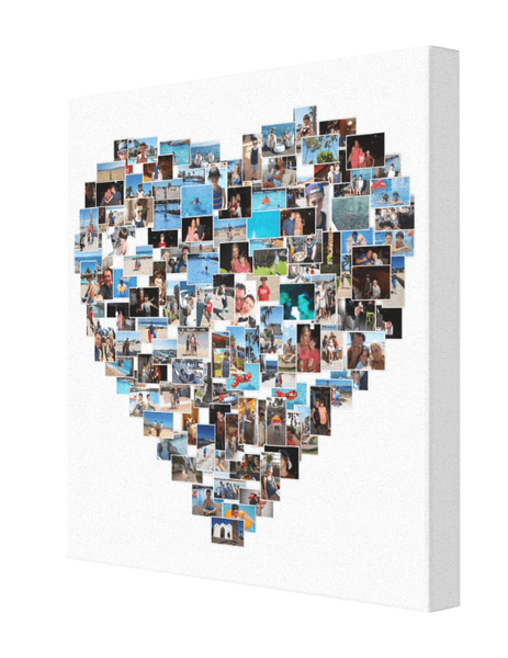 Heart Shape Collage - Pics On Canvas