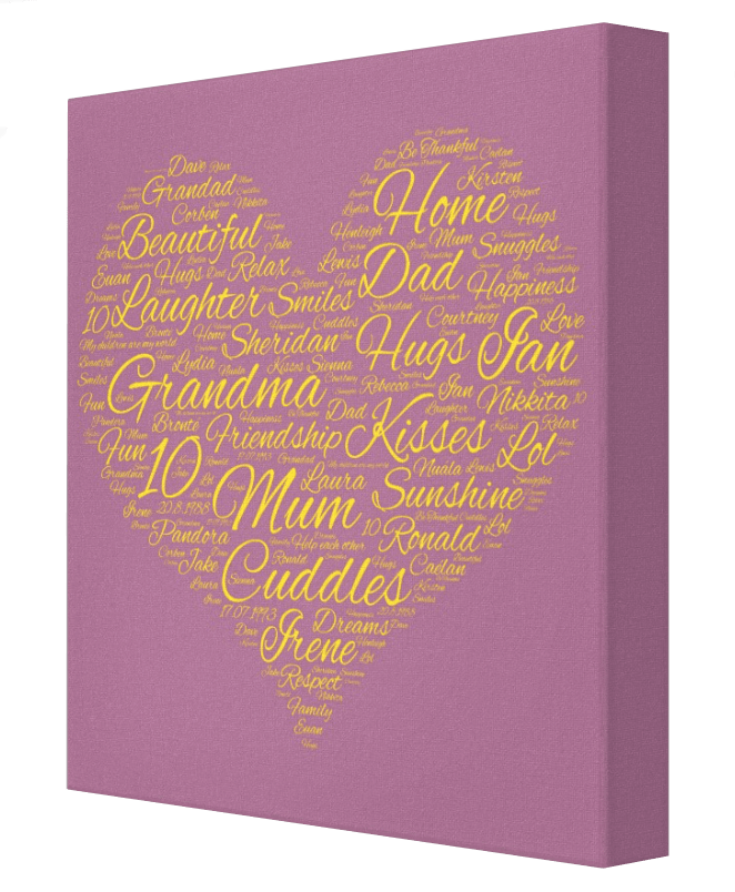 Heart Word Cloud - Pics On Canvas