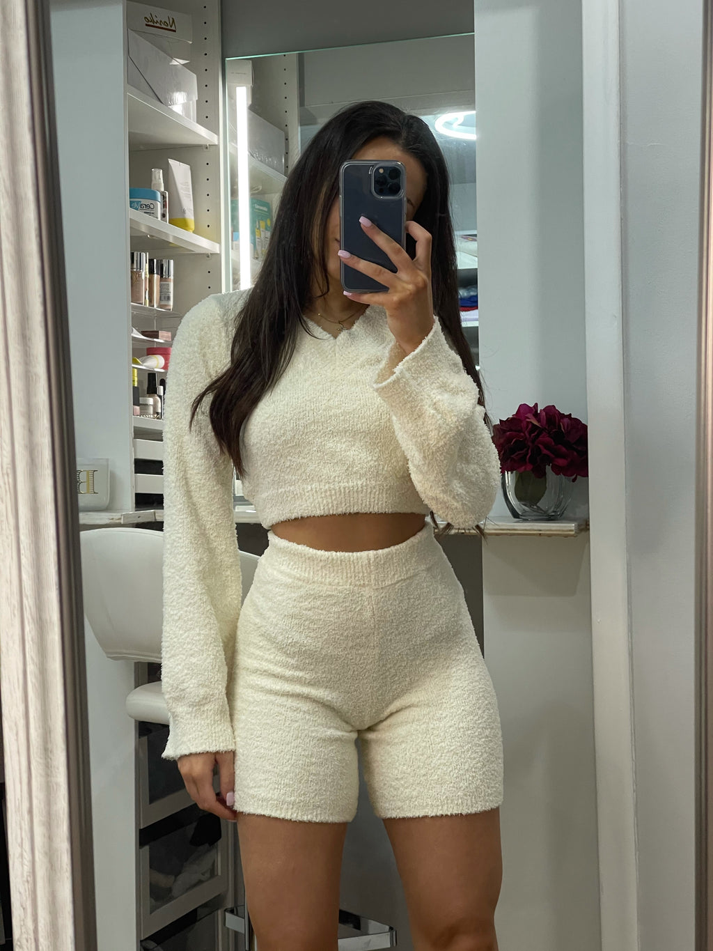 Ivory Cozy Crop Top & Shorts Set