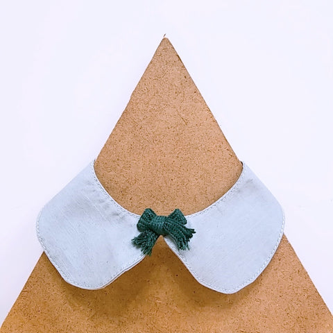 Pet Collar Grey with Green Bow