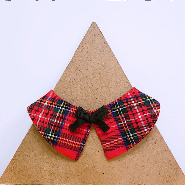 Pet Collar Red Checks with Bow