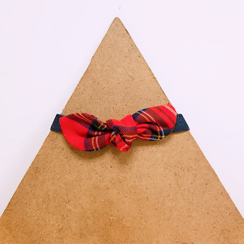Pet Collar Red Checks Bow Tie