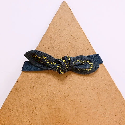 Pet Collar Denim with Yellow Embroidery Bow Tie