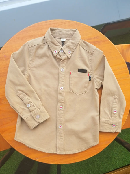 Kids Button Up Shirt Camel