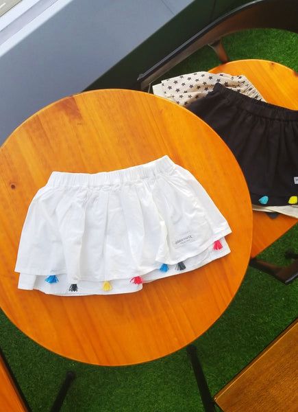 Kids Tassel White Skirt