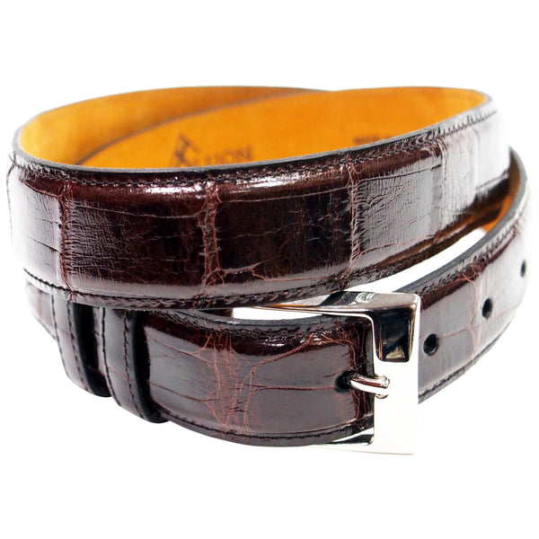Genuine American Alligator Belt - Made in USA - Brown