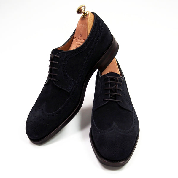 Carmina Shoemaker Wingtip Derby - Navy Suede - Made in Spain