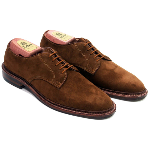 Alden Plain Toe Blucher in Snuff Suede