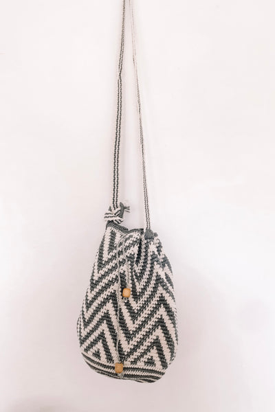 Grey Crochet Bucket Bag