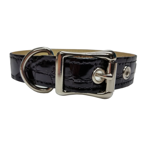 Black Patent Faux Croco Leather Dog Collar