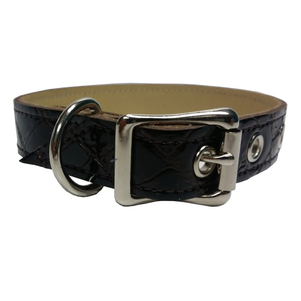 Brown Patent Croco Leather Dog Collar