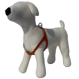 Orange No-Choke Leather Dog Harness