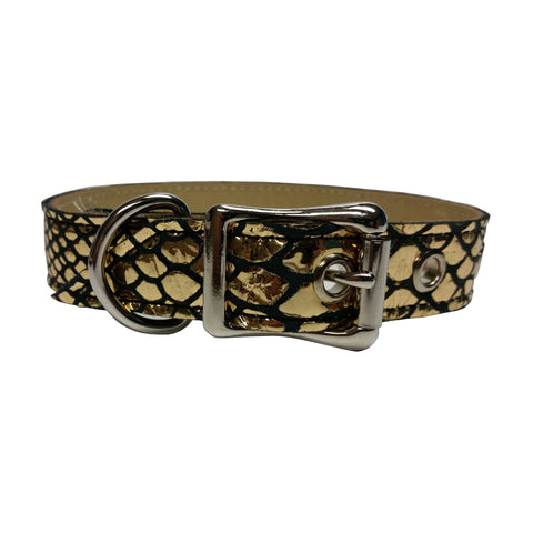 Gold Mirror and Black Snake Dog Collar