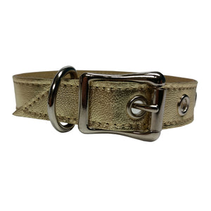 Gold Metallic Leather Dog Collar