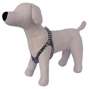 Silver Mirror and Black Snake No-Choke Dog Harness