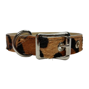 Leopard Hair Premium Leather Dog Collar