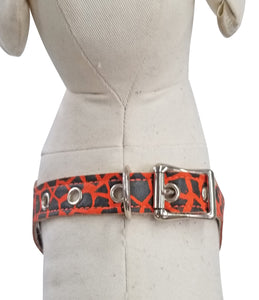 Orange Giraffe mini print Leather No-Choke Dog Harness