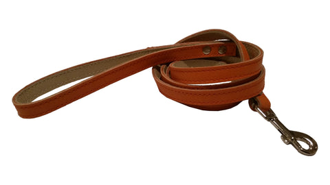 Orange leather leash 4-foot (Matches both Harness and Collar)