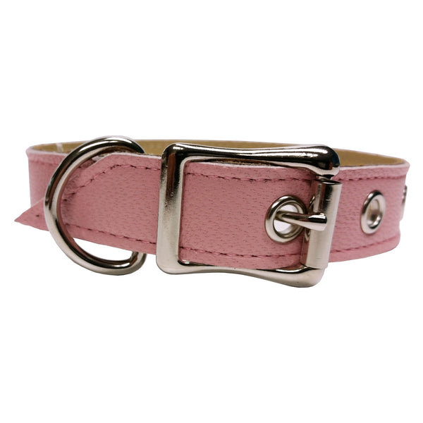 Pink Pearl Smooth Leather Dog Collar