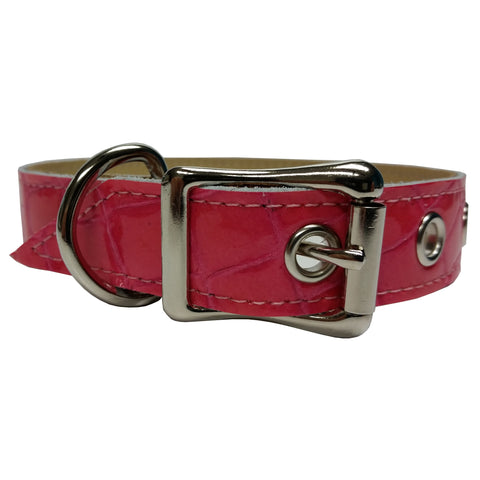 Pink Patent Faux Croco Leather Dog Collar