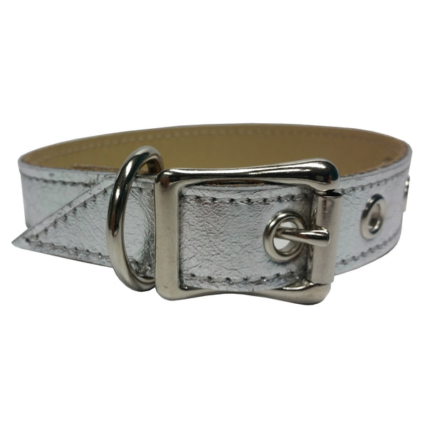 Silver Metallic Leather Dog Collar