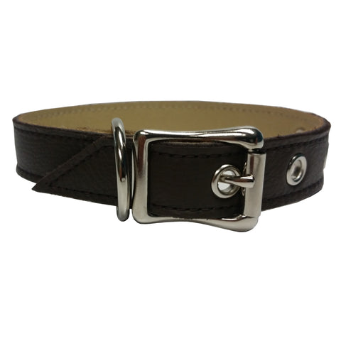 Chocolate Leather Dog Collar