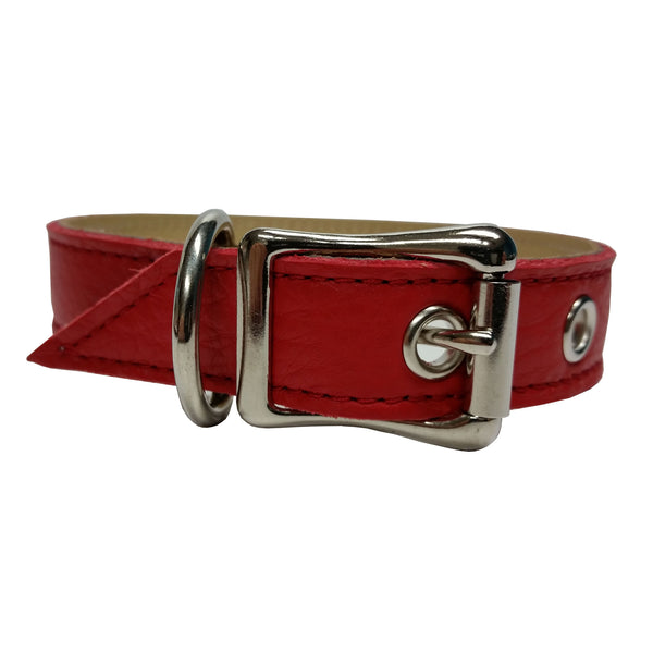 Red Sport Leather Dog Collar