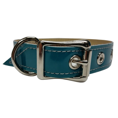 Teal Patent Leather Dog Collar