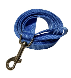 "Light Blue webbing leash 3/4"" by 5 foot."