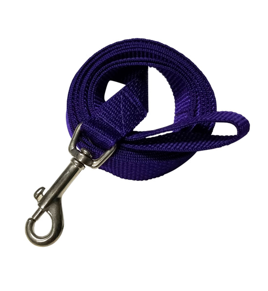 "Purple webbing leash 3/4"" by 5 foot."