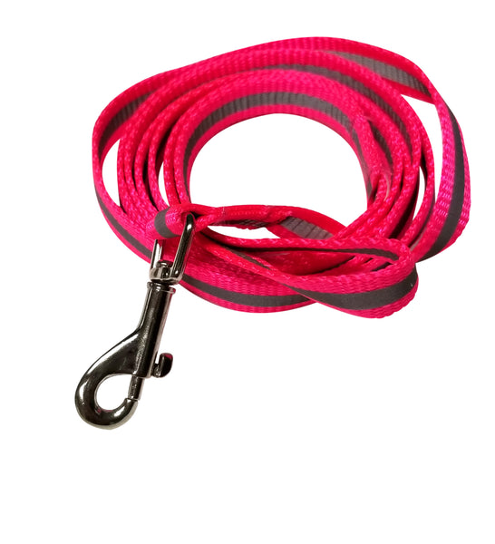 "Hot Pink Reflective webbing leash 1/2"" by 5 foot double sided hi-visibility"