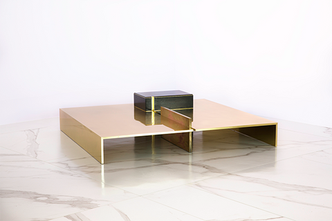 MMXVISI polished brass low table - table basse en laiton poli